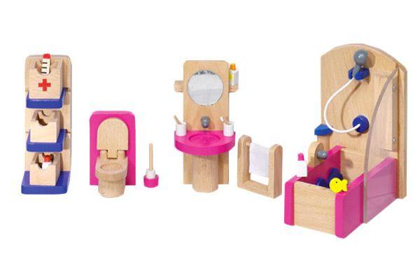 Badkamer Accessoires Roze : Goki roze badkamer poppenhuis